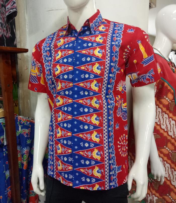 Hem Batik Betawi Tumpal Pucuk Rebung Ondel-Ondel