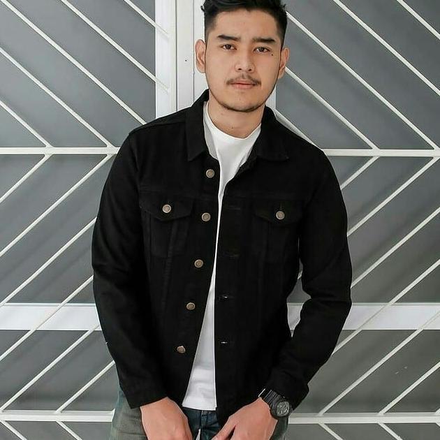 Sea7 Store - Jaket Jeans Denim Cowok - Hitam
