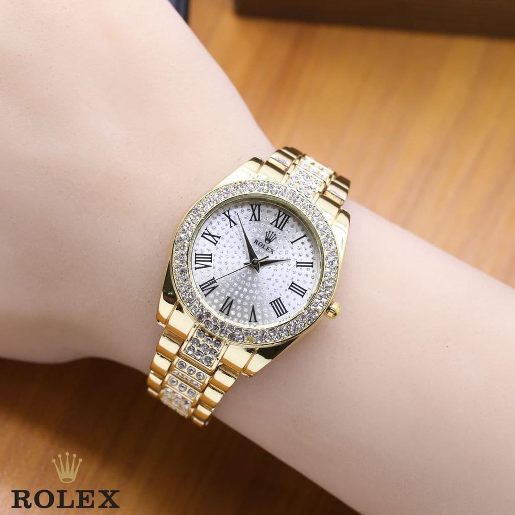 Jam Tangan Wanita / Cewek Rolex SK828 Rantai Gold White
