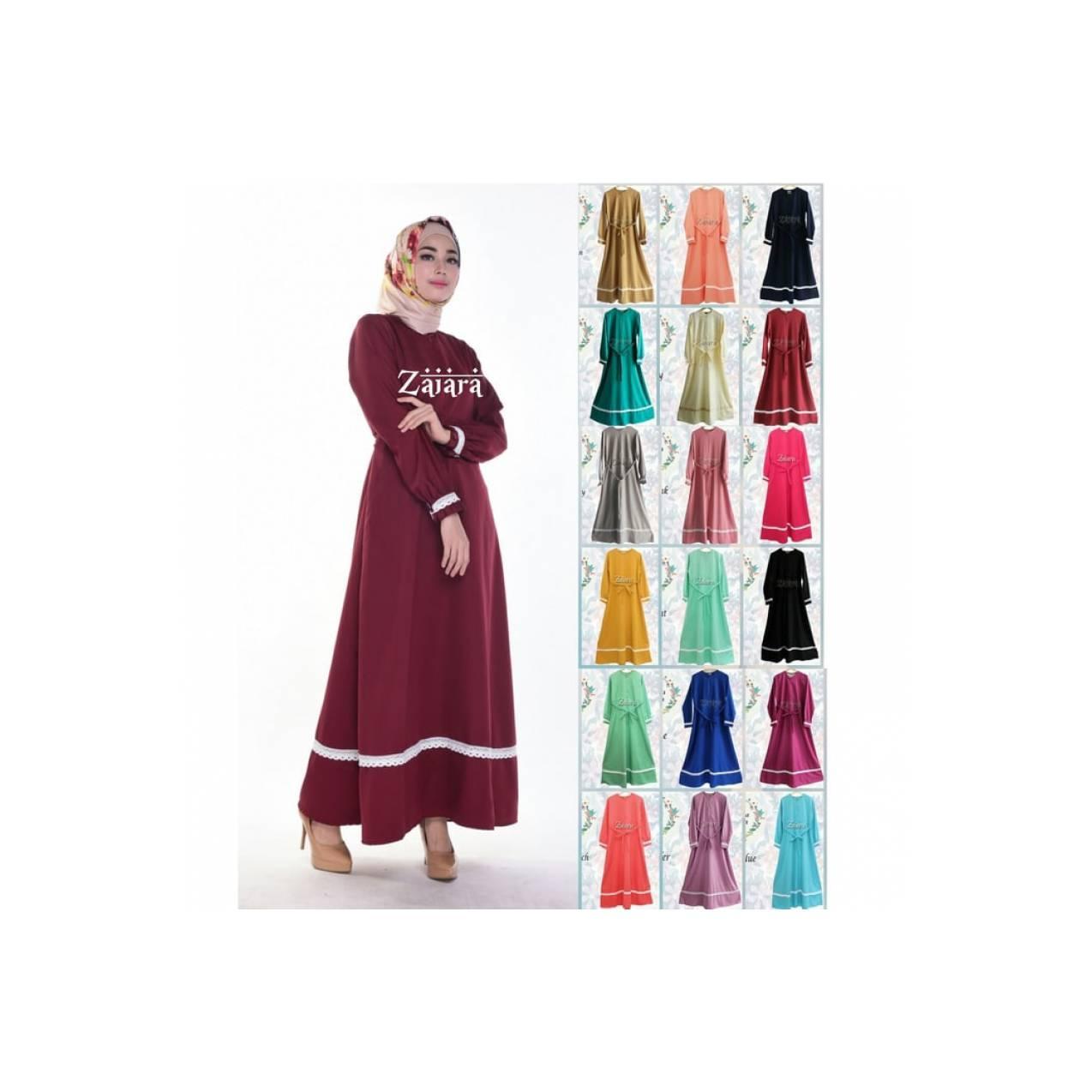 abaya zaiara gamis syari katun baloteli baju menyusui/hamil/umroh