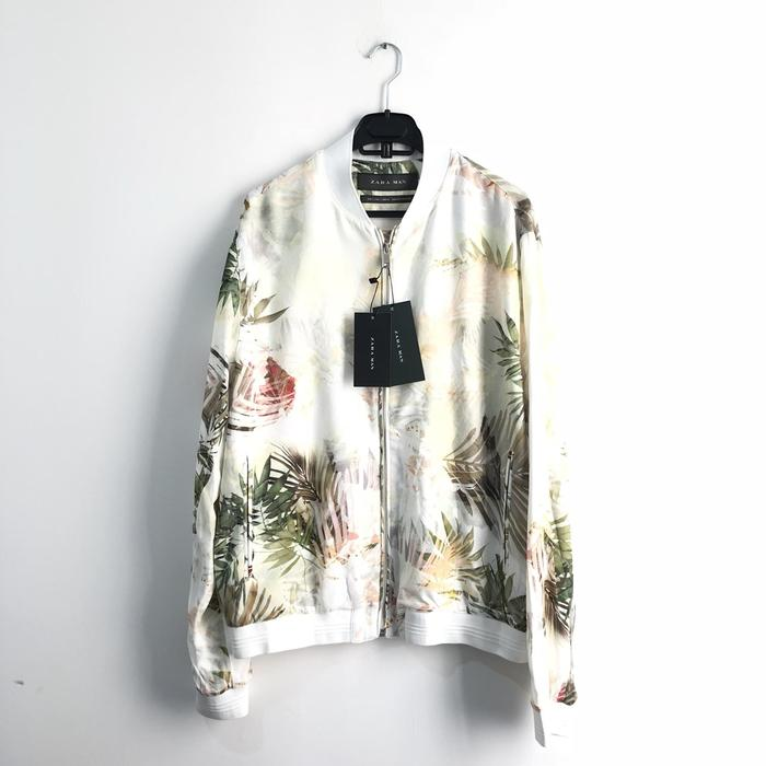 Jaket Printed Bomber Floral Zara Man Authentic