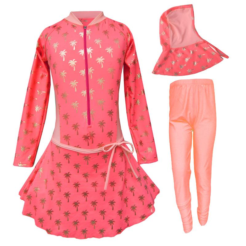 Baju Renang Anak Muslim Motif Kelapa Emas Size SD
