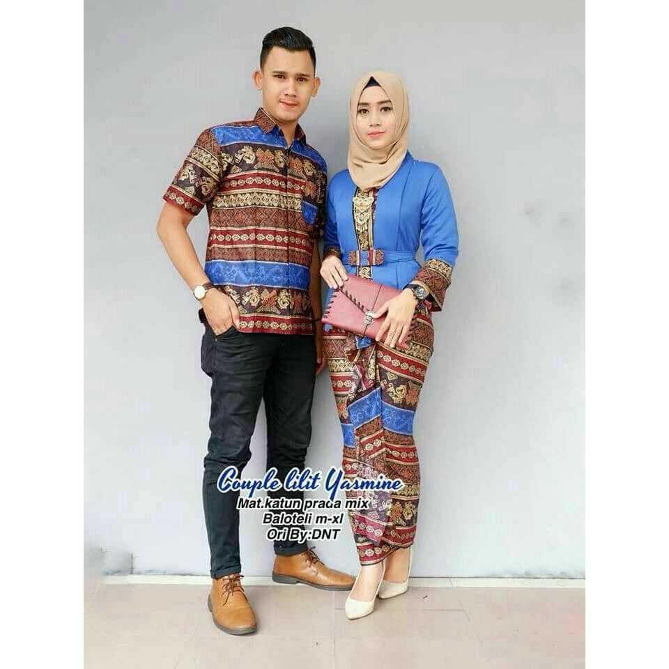 Batik Couple   Batik Sarimbit   Baju Muslim Wanita Terbaru 2018   Batik  Kondangan Lilit Yasmine d12a6a84d7