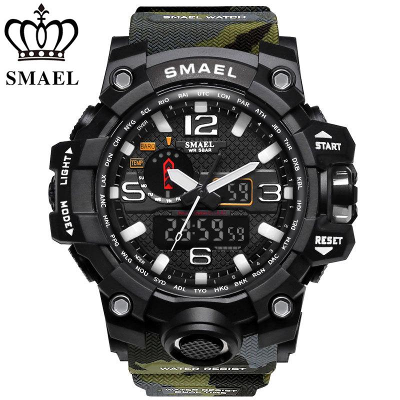 SMAEL Merek Kamuflase Militer Perhiasan Pria 50 M Tahan Air Dual Display LED Digital-Quartzwatch pria G Gaya Fashion S Shock Sport Perhiasan 1545mc
