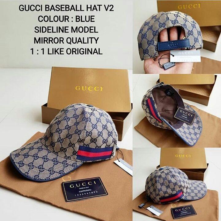 topi gucci baseball hat V2 Blue Sideline Model Mirror