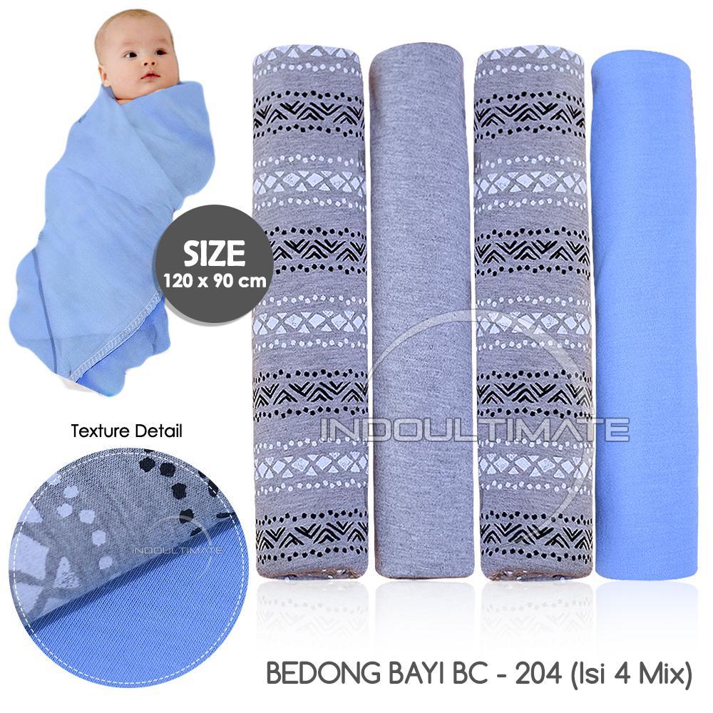 BABY LEON PREMIUM BEDONG BAYI 4 PCS JUMBO 90cm X 120cm / Bedong Kain Motif /