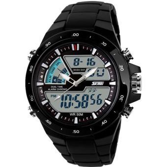 Price Checker SKMEI Dual Time AD1016 Jam Tangan Pria Digital Ring Watch Water Resistant Anti Air 50m Strap Mika - Hitam pencari harga - Hanya Rp96.530