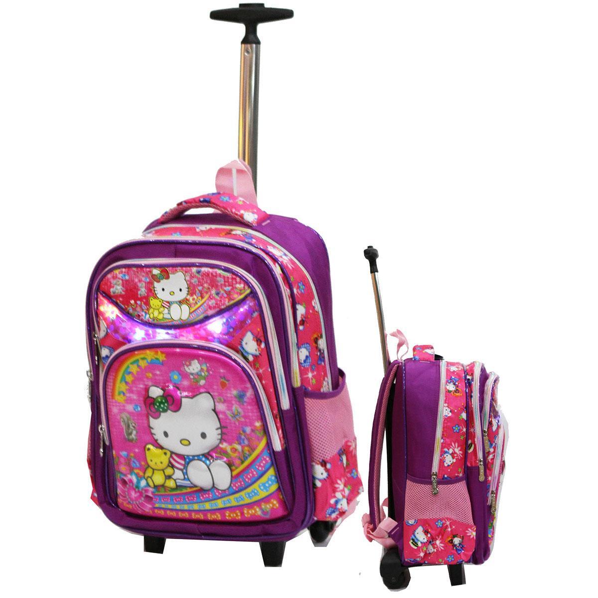 Onlan Hello Kitty 5D Timbul Hologram Tas Trolley Gagang Stainless Stell Ukuran Kantung Besar Import
