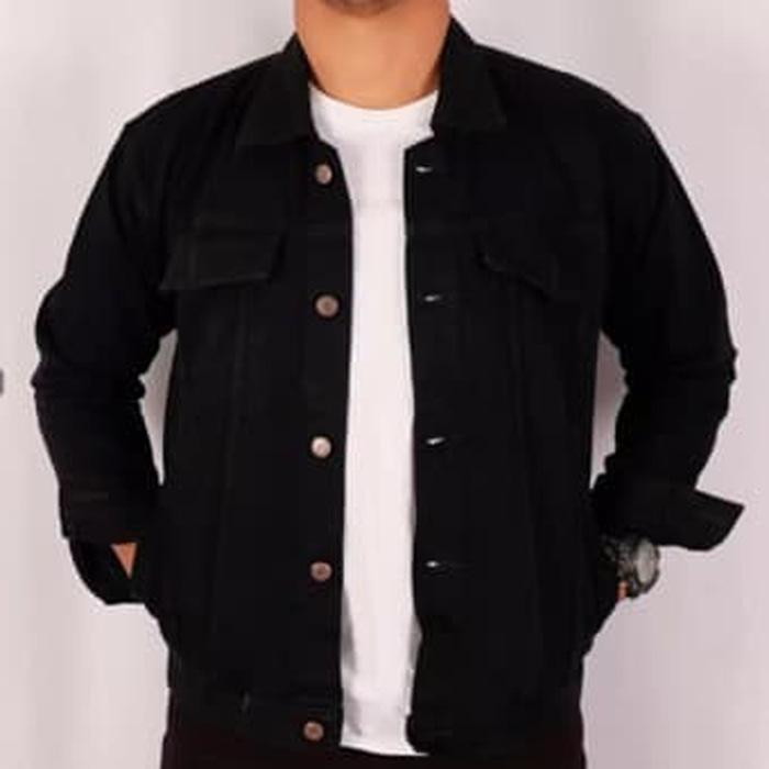 Jaket Jeans Denim Hitam Pekat Pria Ukuran M-Xxl By Surezshop.