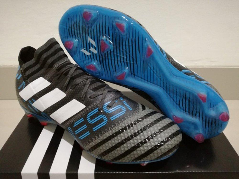 Sepatu Bola - Soccer Adidas Nemeziz 17.1 Messi Black Grey Blue - FG