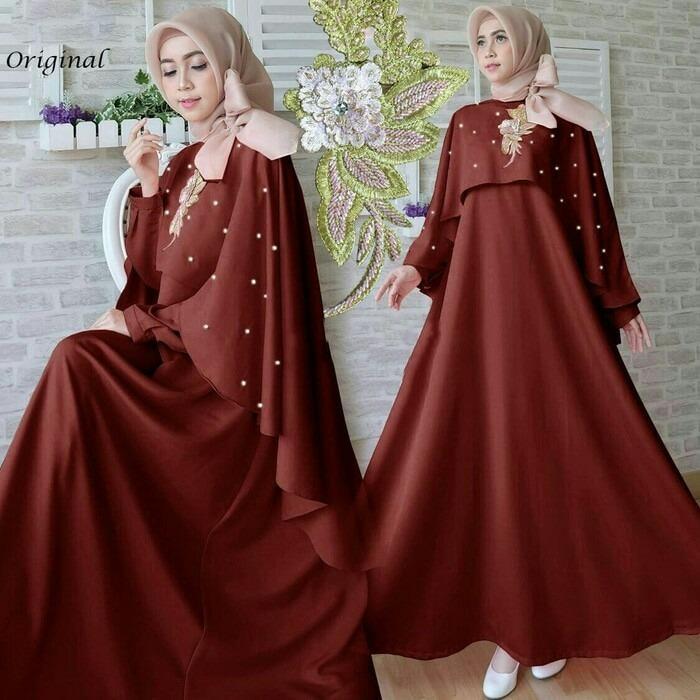 Kenzmal Maxi Gamis Dress Muslim Marcella Untuk Pesta - Tersedia 2 Warna