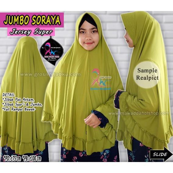 Jilbab Jumbo  Jersey / Bergo Rempel / Jilbab syari Polos / Jilbab Jersey jumbo (Soraya) (Warna Pilih Sendiri)