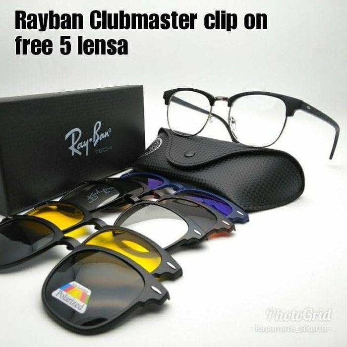 Terbaru!! Kacamata Frame Rayban Clubmaster Clip-On 5 Lensa , Anti Radiasi - ready stock