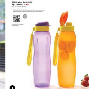 Price Checker Tupperware Eco Bottle 1 liter set isi 2 pcs pencari harga - Hanya Rp103.455