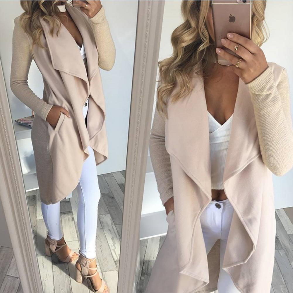 Wanita Musim Gugur Musim Dingin Pakaian Kasual Wol Jaket Lengan Panjang (Hitam)