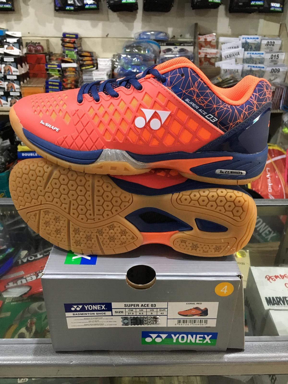 Yonex SUPER ACE 03 Sepatu Badminton (Coral Red) b903d2fc84