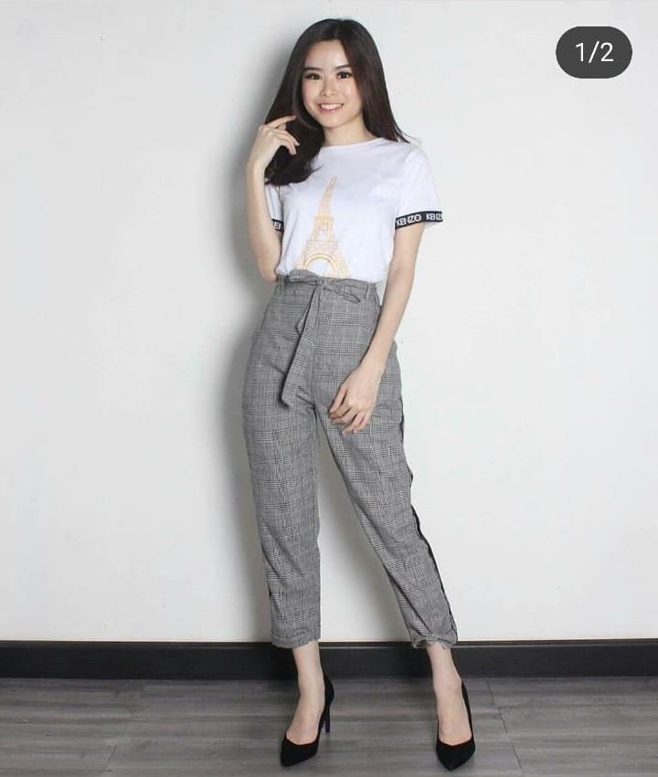 RIBBON Celana kotak chino bershka pants IMPORT kotak kantor square pants