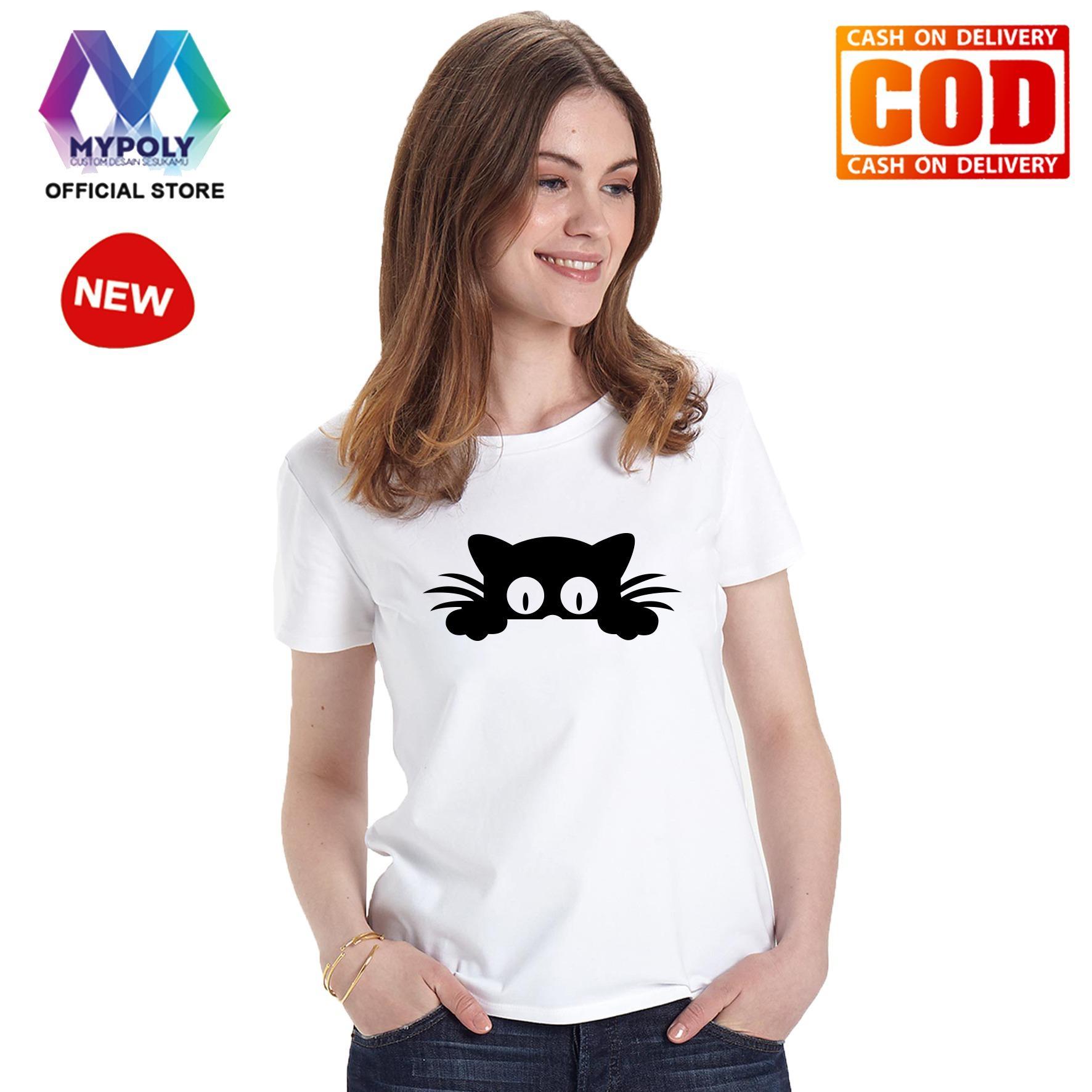 Kaos Premium Mypoly Wanita Perempuan WP / Baju Couple Family Keluarga / Tshirt distro Anak Wanita / Fashion atasan / Kaos Wanita Dewasa Cat Look Up