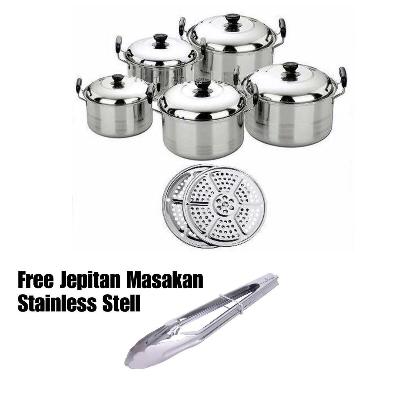Kingko America High Pots Panci Set 5 in 1 + Kukusan -Steamer - Langseng BONUS Jepitan  Stainless Steel