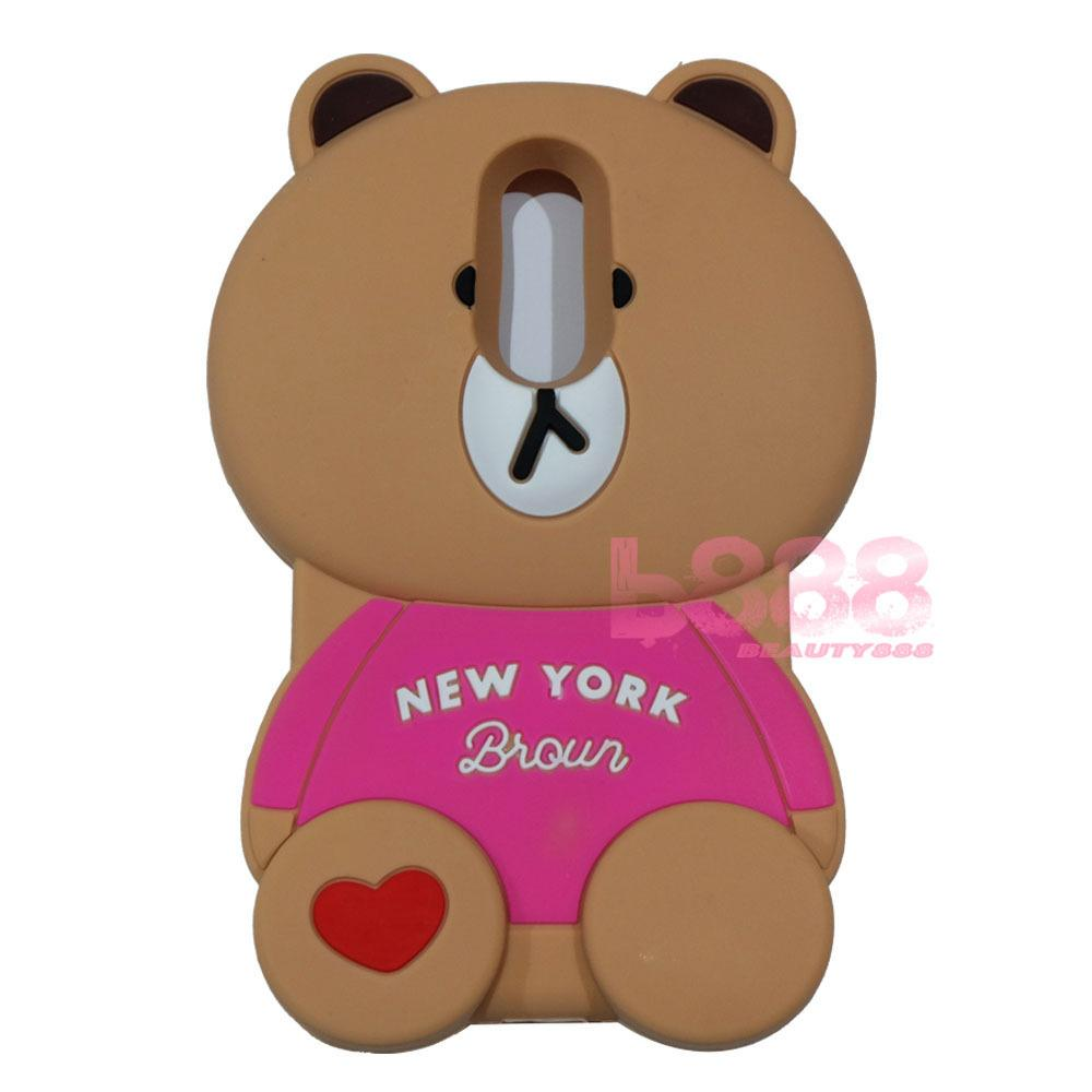 Beauty Bear Case 3D Xiaomi Redmi Note 4X Silicone 3D Brown Bear Clothes Overall Design New York / Case Boneka Baju Beruang / Casing Xiaomi Redmi Note 4X Boneka Unik / Casing Xiaomi Redmi Note 4X / Silikon Xiaomi Redmi Note 4X - Brown Line Bear New York