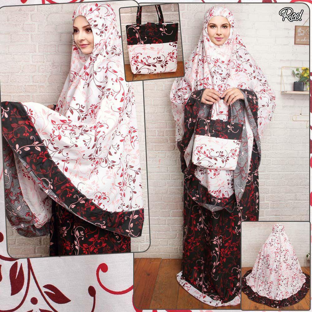 Mukena katun jepang naila merah fashion muslim perlengkapan sholat trendy dewasa