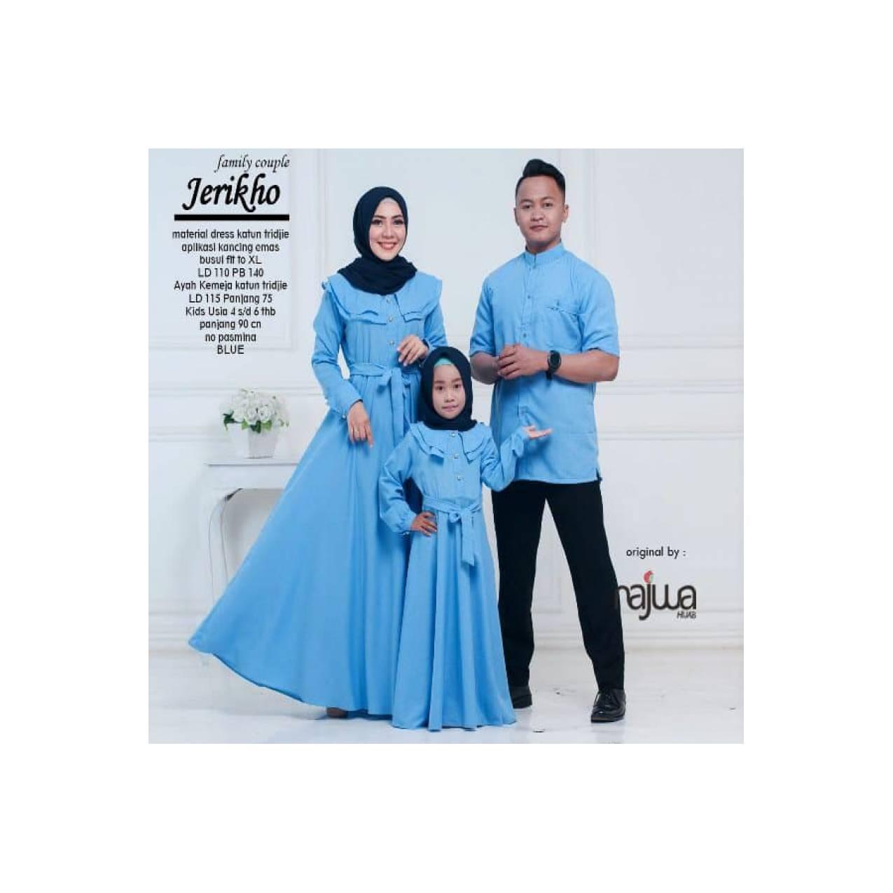0002987 Baju gamis dan kemeja ibu anak ayah jerikho couple family ori