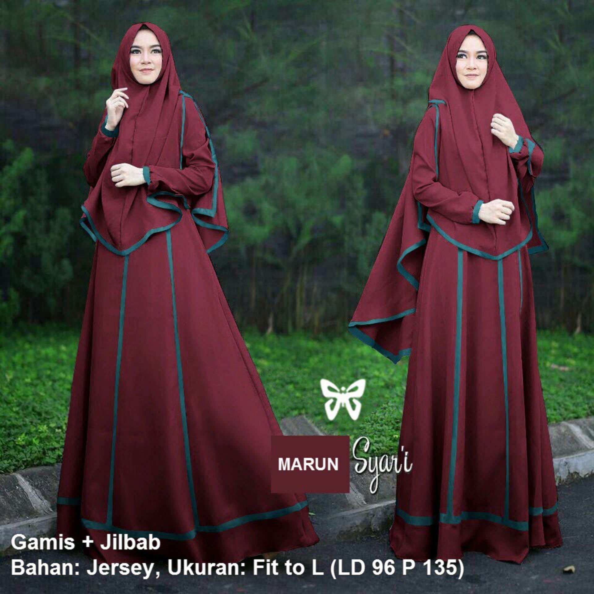 Jual Gamis Terbaru Terlengkap Khimar Panjang Pinguin Syari Set 2 In 1 Lis Msr012 Baju Muslim Wanita