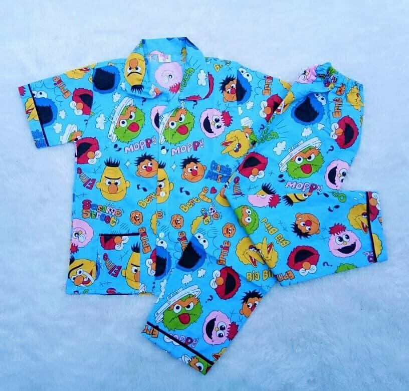 Baju Tidur Anak Karakter Elmo Toska Piyama Katun Ukuran XL Untuk Usia 3 - 5  Tahun b75f266708