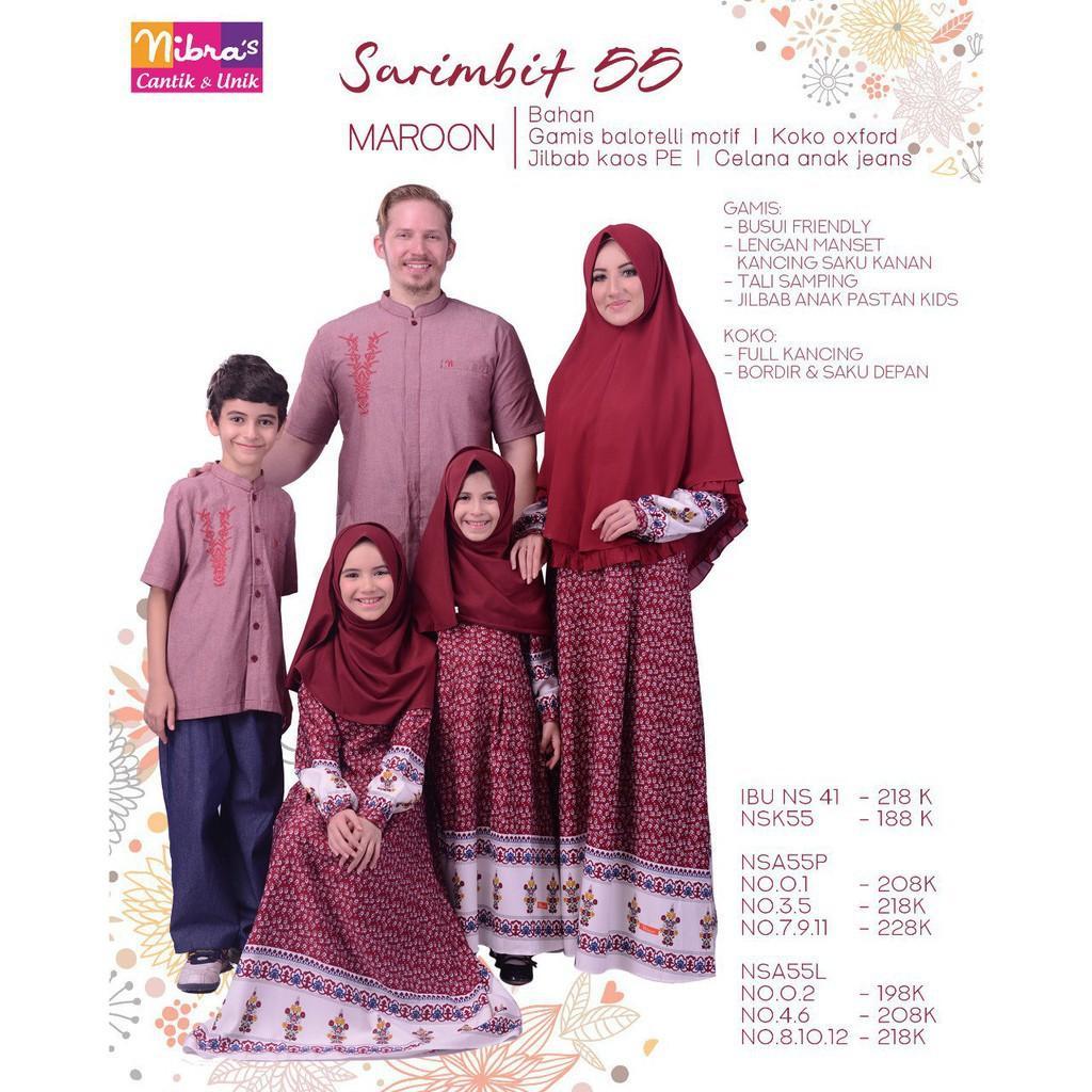 Promo Busana Baju Sarimbit Keluarga Muslim  BUsana Couple Ayah Ibu Anak NIbras Marron Berkualitas (Koko Anak 4-6)