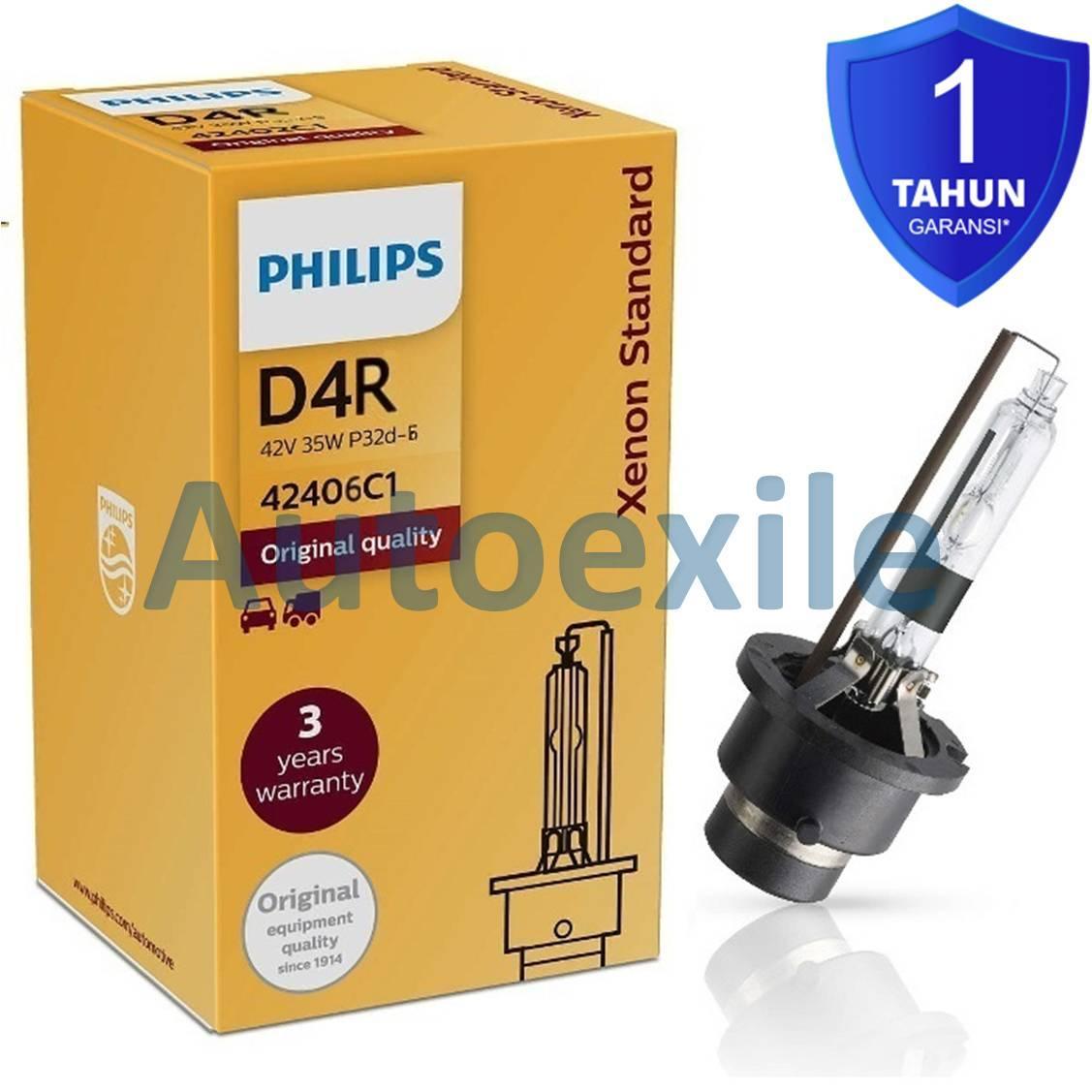 Philips Xenon Standard HID D4R 42V 35W 4200K Kuning Terang Garansi Original Lampu Depan Mobil New Vios New Altis Mark-X FT-86
