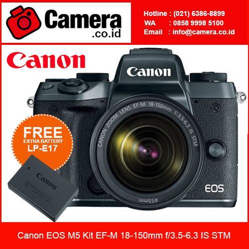 Canon Eos M5 Kit EF-M 18-150mm f/3.5-6.3 IS STM Kamera Mirrorless - Hitam