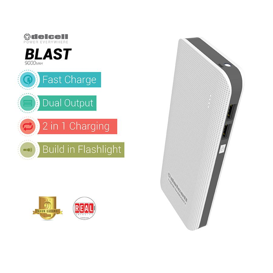 Delcell 9000mAh Powerbank BLAST Real Capacity Fast Charging Dual Output Garansi Resmi 1 Tahun Power Bank Murah Berkualitas - Putih