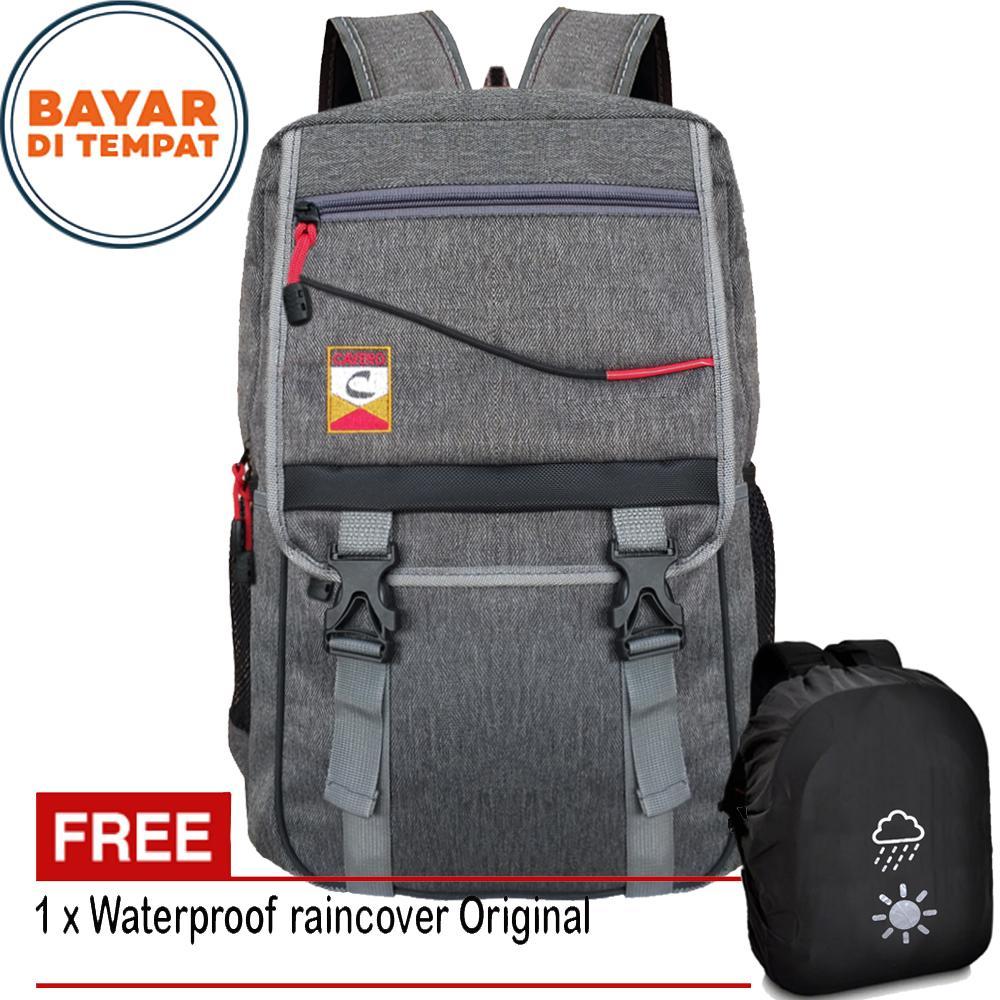 Tas Ransel Pria Wanita Tas Laptop Tas Sekolah Backpack 027RRC Size 18 Inch Tas Kuliah Tas Kerja - Grey + Bonus Raincover Anti Air
