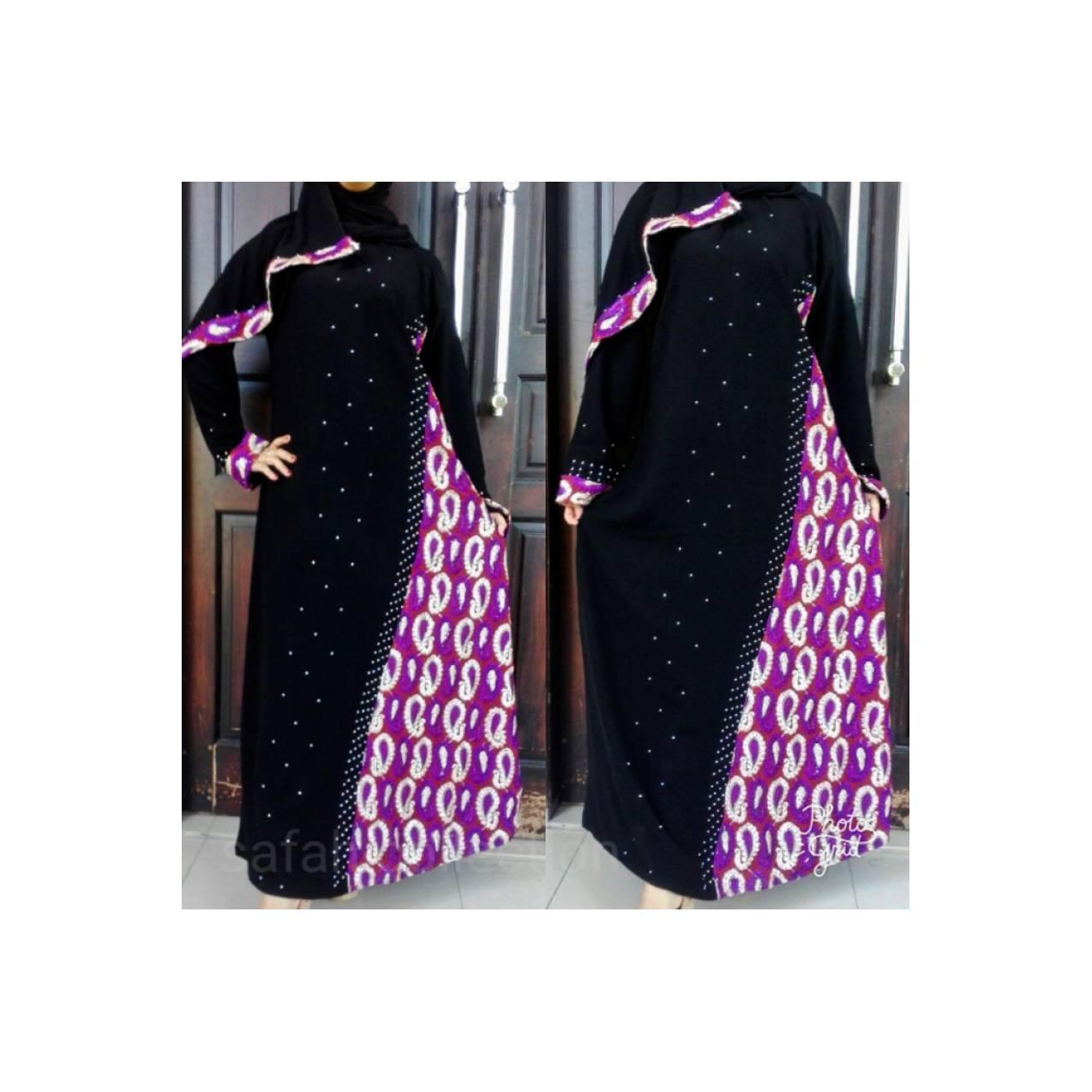 Grosir Gamis Cantik Mewah abaya sari ungu mateng free pasmina