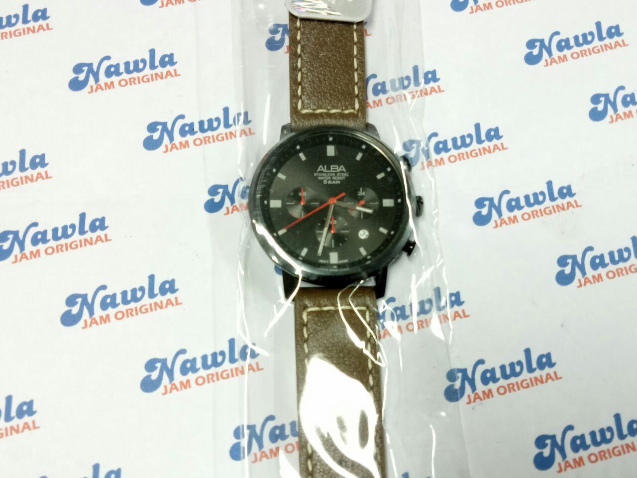 Alba Quartz AT3D97X1 Chronograph Leather - Jam Tangan Pria AT3D97