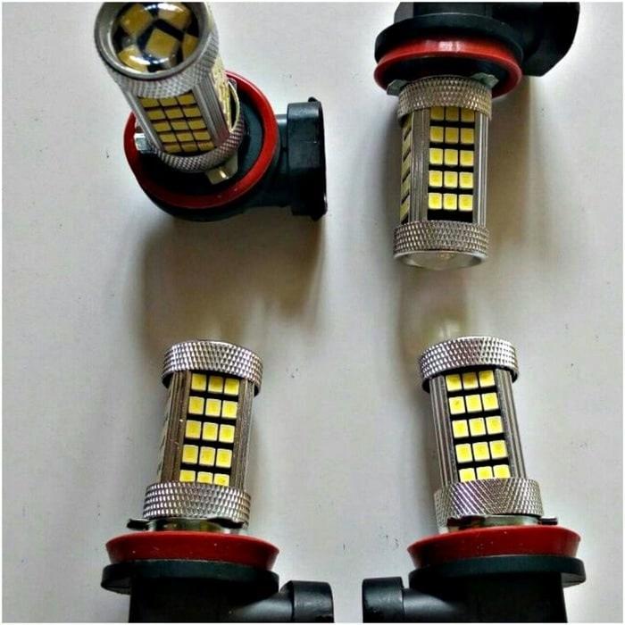 LAMPU LED H11 FOGLAMP LENSA | ( lampu  mobil hid plafon depan rem sorot led h4 kabut fog lamp tembak variasi strobo rem toyota innova hid avanza osram )