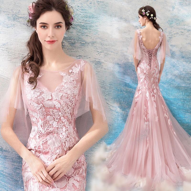 Gaun Seksi Lembut Merah Muda Gaun Pengantin Mermaid Baju Pelayanan Menikah (Merah Muda)