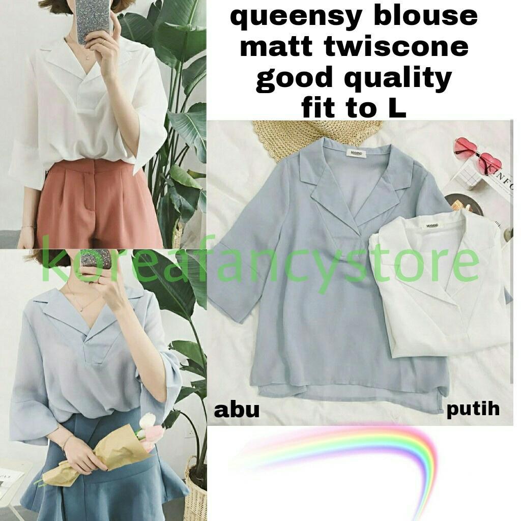 koreafancystore / queensy blouse / kemeja wanita / atasan wanita / blouse model jepang / jepang sty