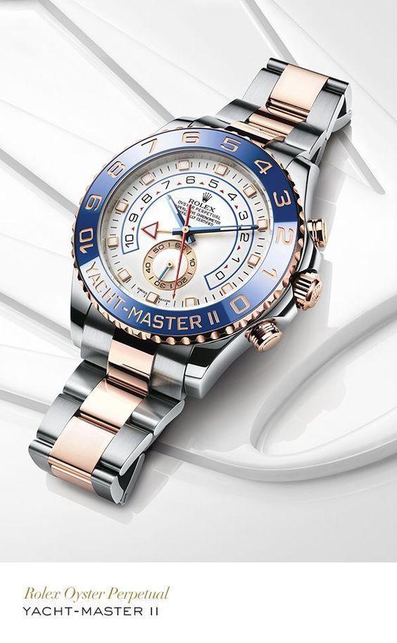 Jam Rolex Yacht-Master II Blue Ceramic Bezel White Dial Automatic / SilverGold