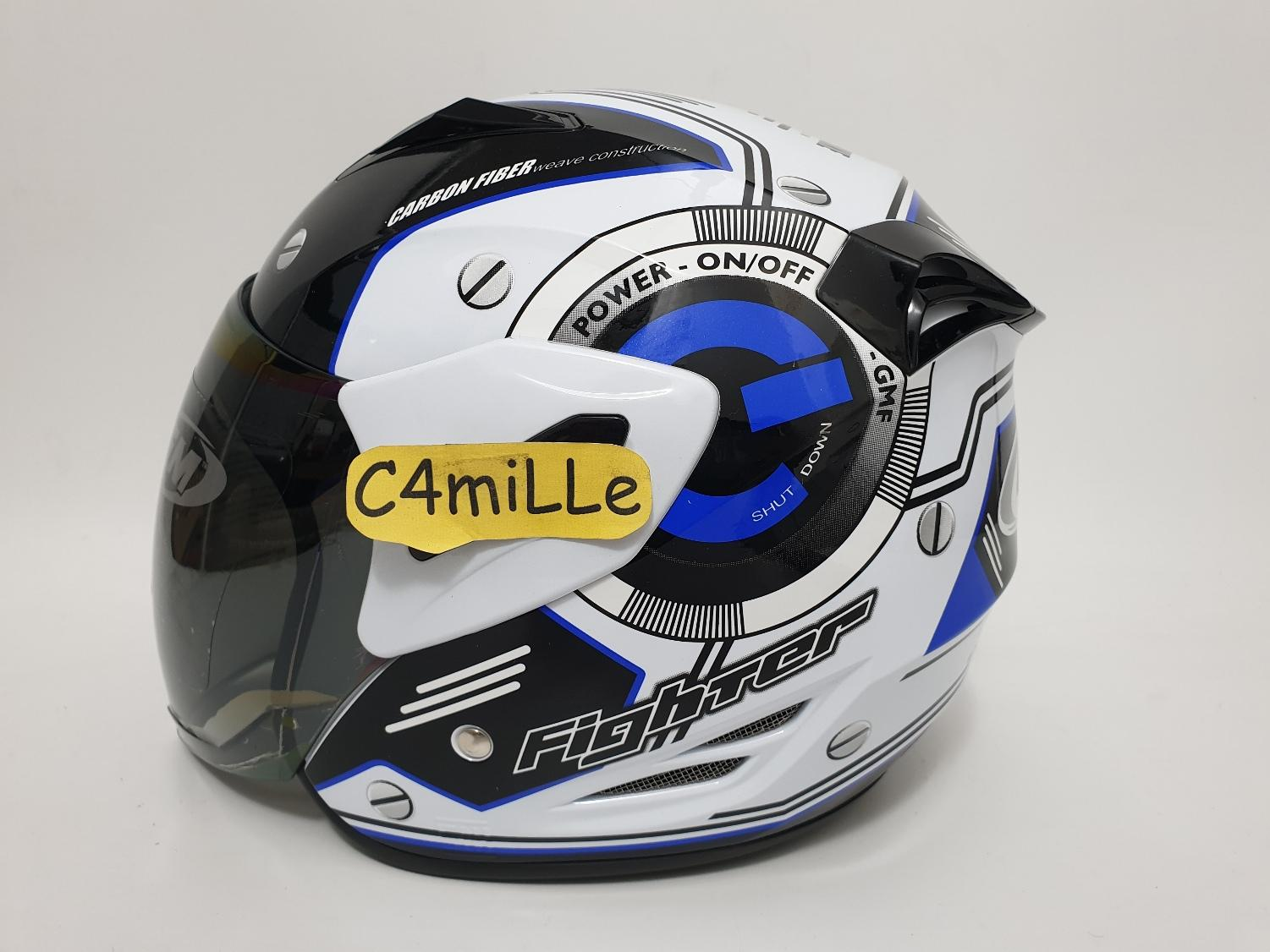 HELM GM FIGHTER CENTRAL WHITE BLUE HALF FACE SIZE M