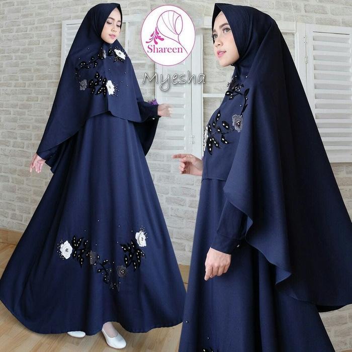 Kenzmal- Maxi Gamis Dress Baju Muslim Wanita Gamis Jumbo Premium Kiara Navy