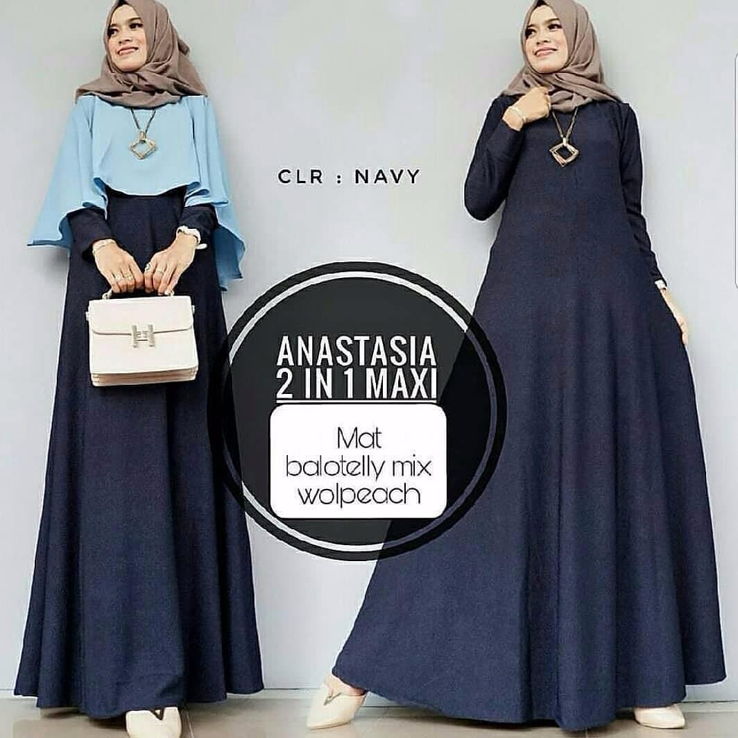 Baju Original Gamis Anastasia 2in1 Dress Baju Panjang Muslim Casual Wanita Pakaian Hijab Modern Modis Trendy Terbaru 2018