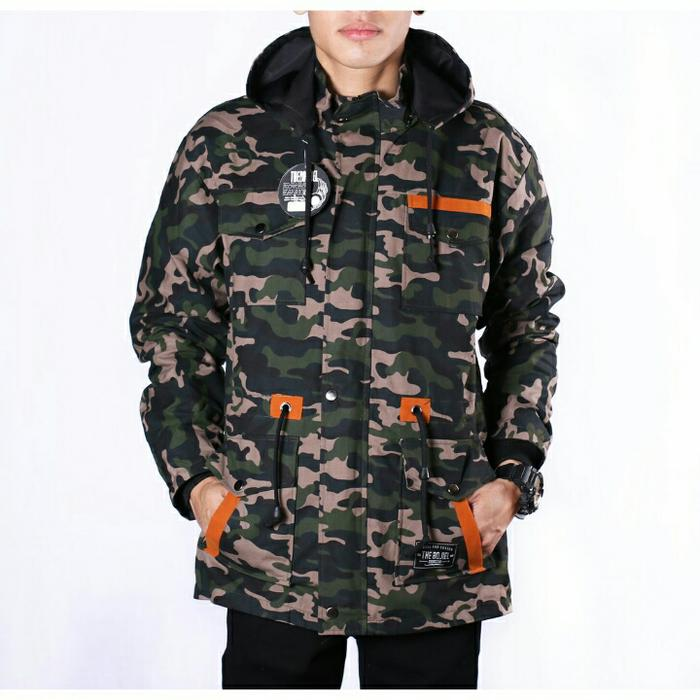 JAKET PARKA CANVAS PREMIUM MOTIF GREEN ARMY