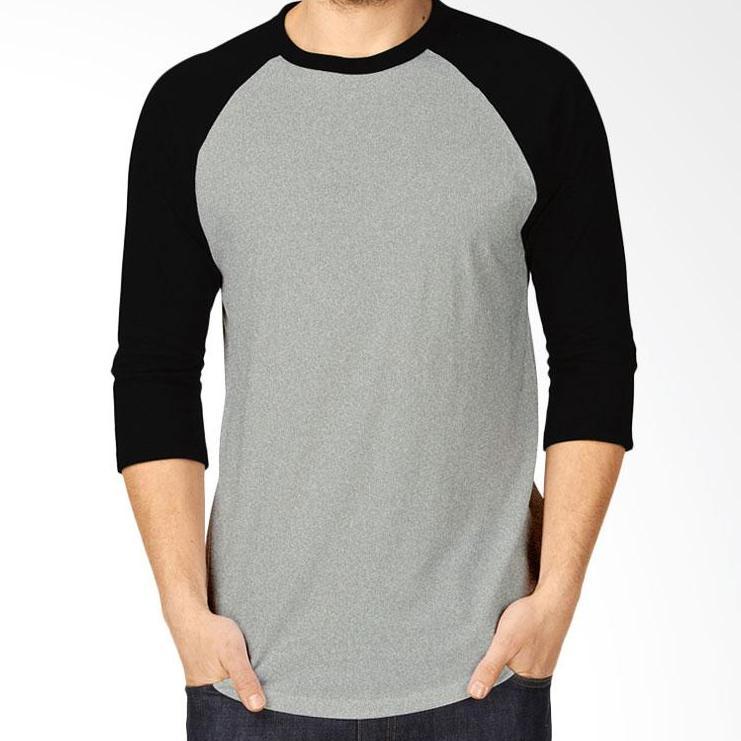 Kaos Polos Reglan Cotton Combed - Lengan 3/4 Pria dan Wanita Dasar Abu abu lengan Kombinasi hitam N