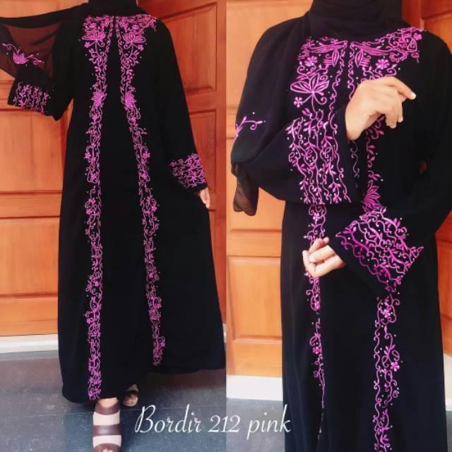 (TERBARU) ABAYA BORDIR ADIVA/gamiswanita/dress muslim/baju/pesta/anggun/busana/syar'i/bagus/fashion/hijab (xl)