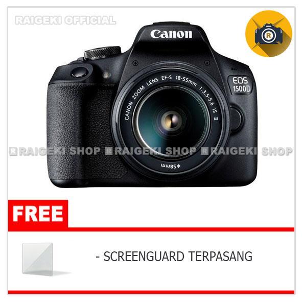 Canon EOS 1500D Kit 18-55mm IS II Kamera DSLR - Free Screenguard Terpasang