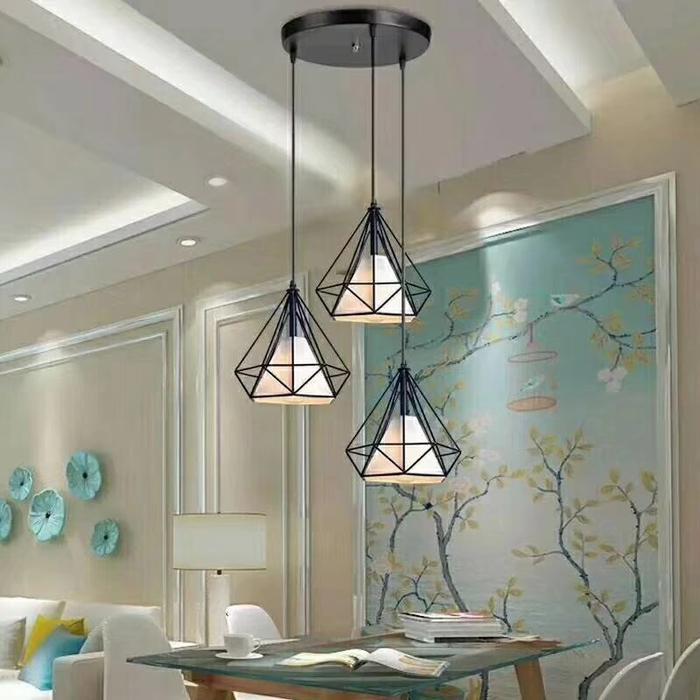 LAMPU GANTUNG VINTAGE HIAS KAIN DIAMOND KAFE CAFE JARING E27 MURAH