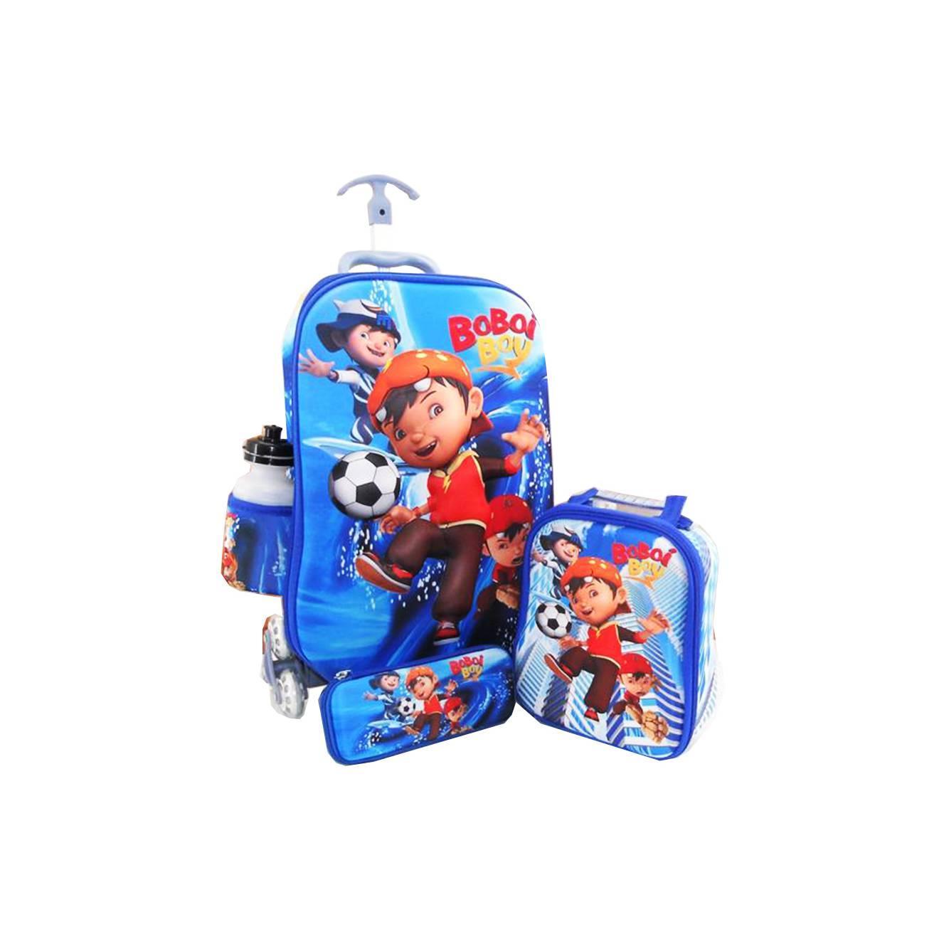 Trolley 4in1 Set 6 Roda Gagang Samurai Boboi Boy 3D Timbul - Blue