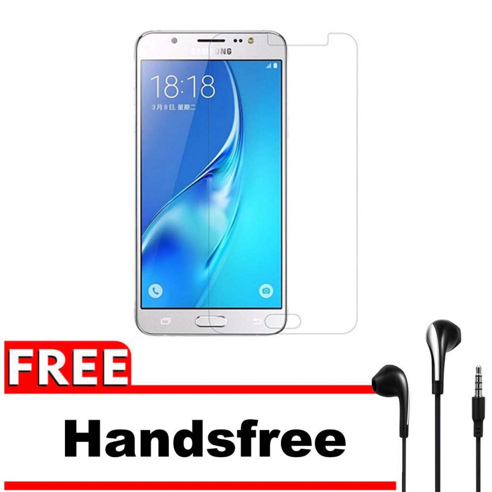 Vn Samsung Galaxy Grand Max / 4G LTE / Duos Tempered Glass 9H Screen Protector 0.32mm + Gratis Free Handsfree Earphone Headset Universal - Bening Transparan