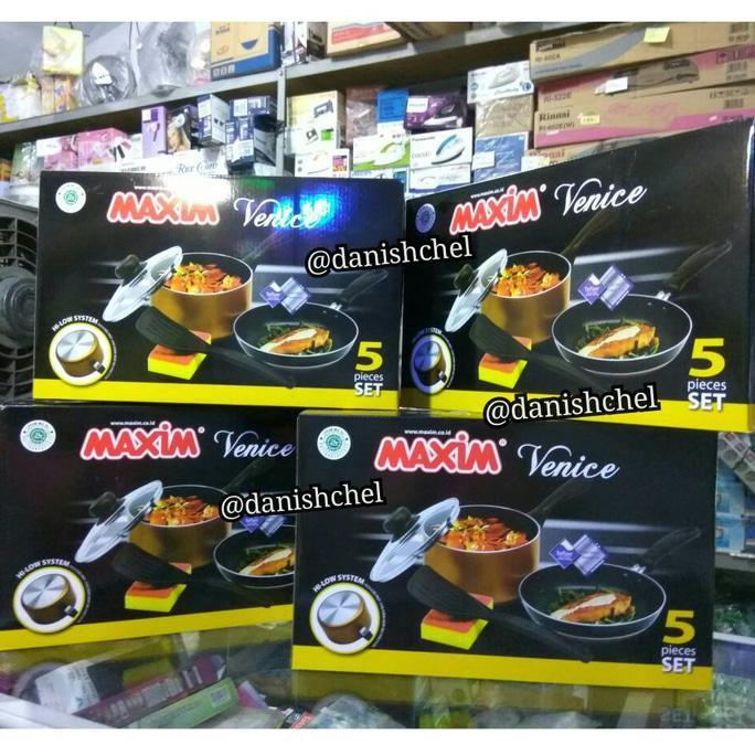 Alat Masak Maxim Venice Panci Teflon Wajan Penggorengan Anti Lengket 5 Pcs Set Stok Terbatas !